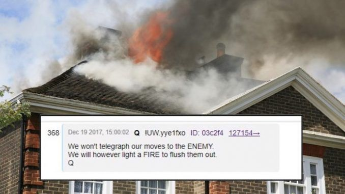 "Background of mystery fires haunts Clintons as Q-Anon previously hinted he would ""set a fire to flush (the enemy) out."""