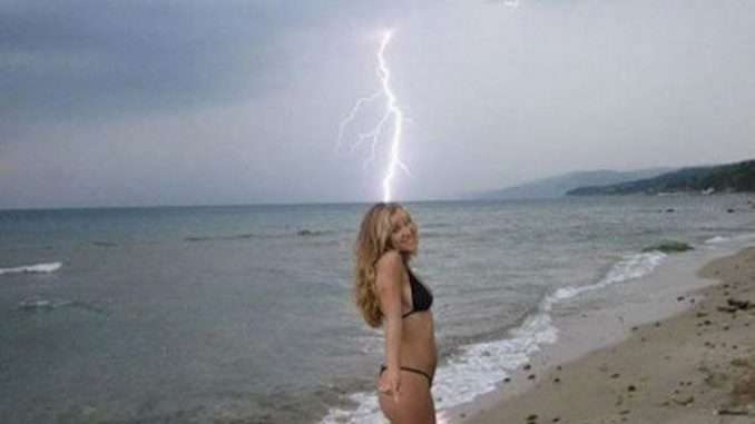 A woman has suffered severe burning to her anus after being struck by lightning bolt which hit her in the mouth and passed right through her body, exiting in the from of sparks from her ass.
