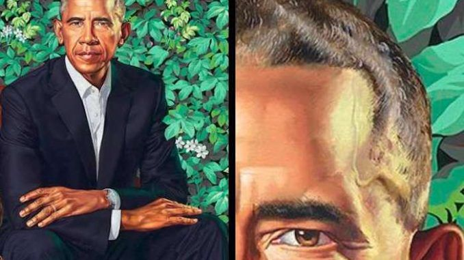 The official portrait of Barack Obama now hanging in the SmithsonianInstitution's National Portrait Gallery features a trail of sperm running down the side of his forehead.