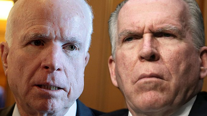 White House name CIA's John Brennan and Senator John McCain as anti-Trump intel leakers
