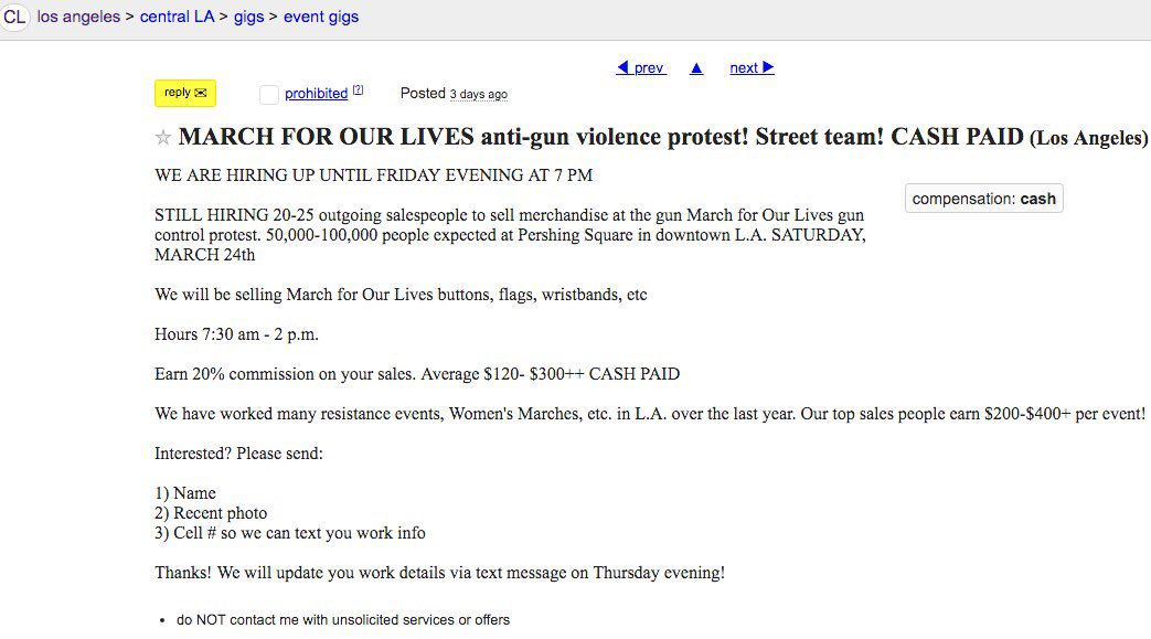 Craigslist ad for MarchForOurLives protestors