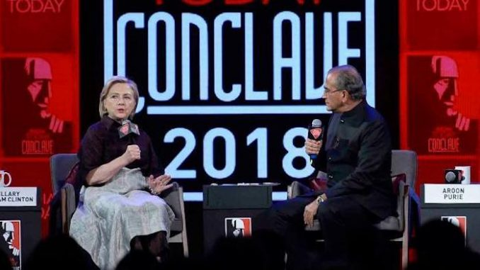 """Hillary Clinton called red states """"backwards"""" and mocked Trump voters as poor and racist during a speech in India on the weekend."""