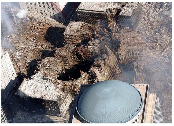 Compare the debris from WTC-7 (left) with that from WTC-1 (right), which should have been more than twice as high.