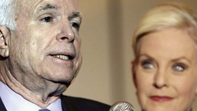 "Sen. John McCain is ""greasing palms and pulling strings"" in order to ensure Cindy McCain takes his seat in the Senate when he dies, according to Republicans and political pundits in Arizona."