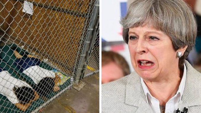 """Theresa May described the policy of separating immigrant children from their families as """"deeply disturbing"""" and """"wrong"""", even though her family is reaping huge profits from it."""