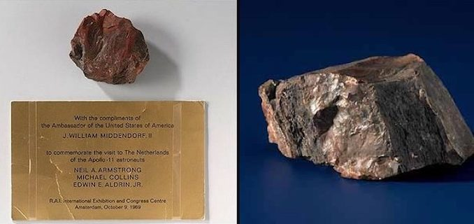 "The ""lunar rock"" given to Holland by NASA is actually a ""pretty much worthless stone,"" according to geologists from a Dutch university."