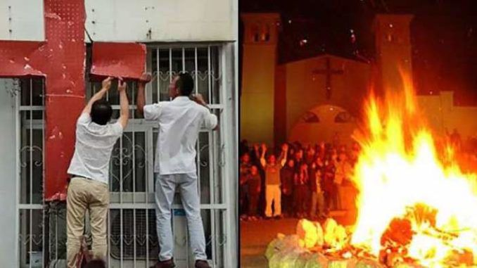 China's communist government has begun destroying crosses, burning Bibles, shutting churches and ordering Christians to sign papers denouncing Jesus Christ, according to pastors and a group that monitors religion in China.