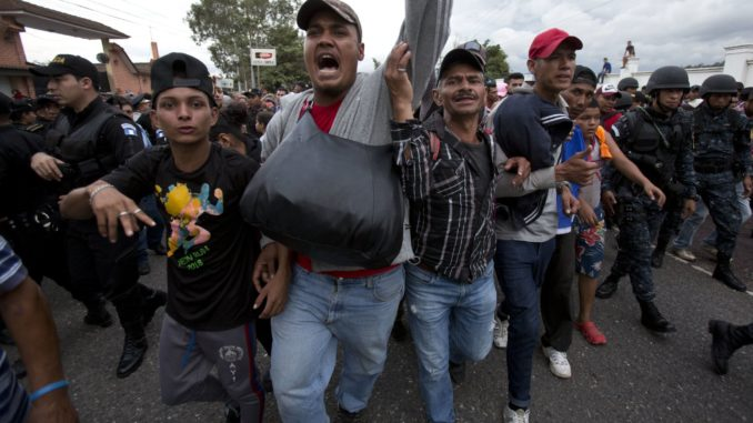 Mexican Police werefiredupon by two armed Honduran migrants this week as they attempted to provide security for the notoriously unsafe caravan.