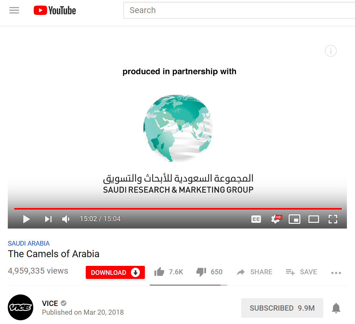 VICE acknowledges that it produces videos in partnership with Saudi royal mouthpiece SRMG
