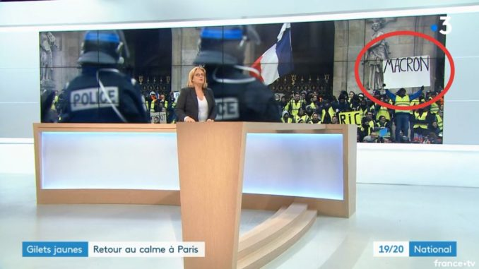 French news caught doctoring Yellow Vest protestors sign
