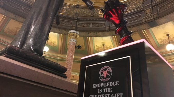 Satanic statue erected in Illinois statehouse