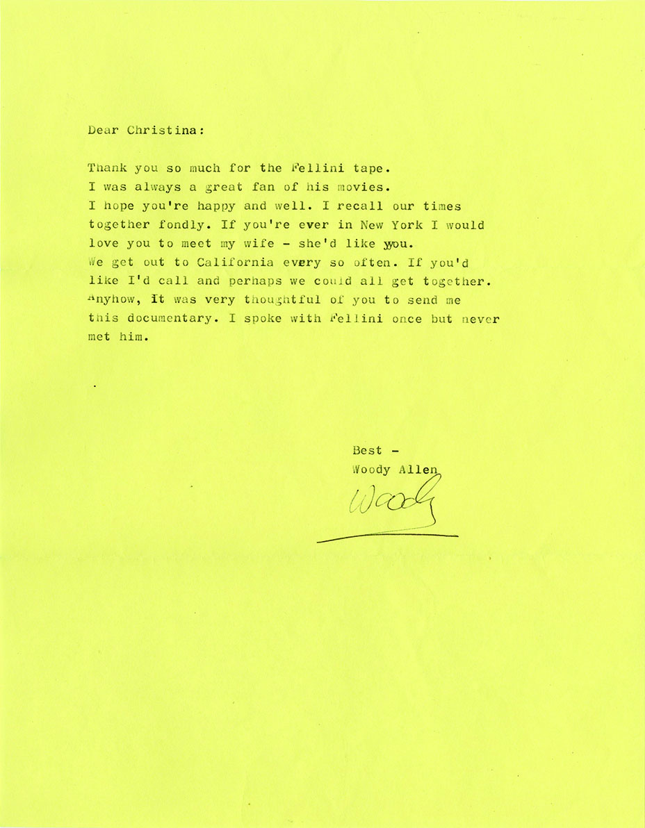 A 2001 letter Allen sent to Engelhardt thanking her for a copy of a documentary about Federico Fellini in which she appeared.
