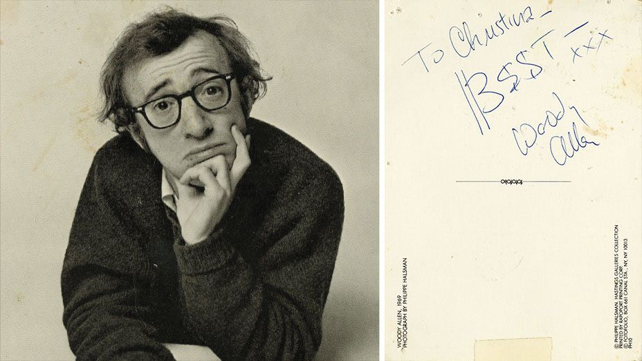 """A postcard signed by Woody Allen in the early days of his relationship with Christina Engelhardt. """"I had seen it in a shop and brought it over and asked him to sign it,"""" she says."""