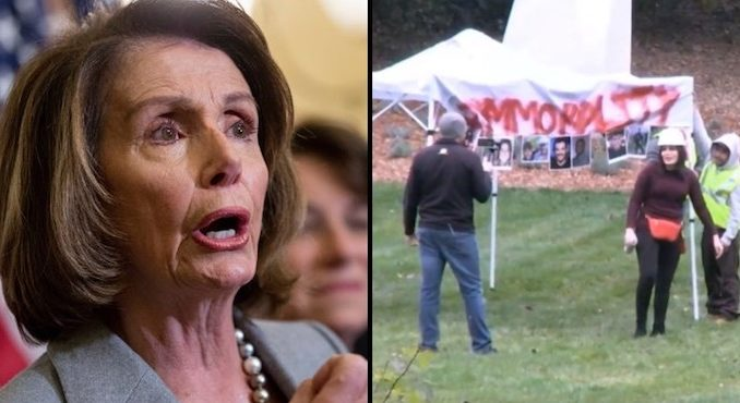 Illegal alien caravan turns up Nancy Pelosi's home in California