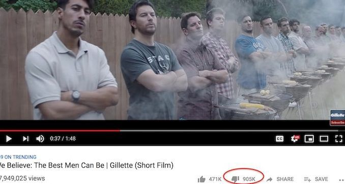 """Gillette's recent virtue signaling commercial against """"toxic masculinity"""" has become one of the most disliked videos on YouTube of all time."""