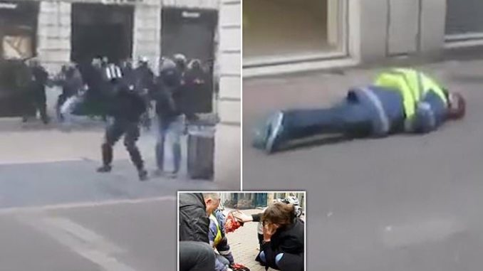 Anti-Macron protestor shot in the back of the head by police