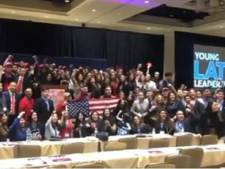 "Hundreds of young Latino leaders chanted ""Build the wall!"" while proudly displaying the flag at the Young Latino Leadership Summit."