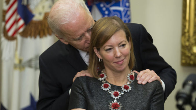 Joe Biden says no man has a right to lay his hands on a woman
