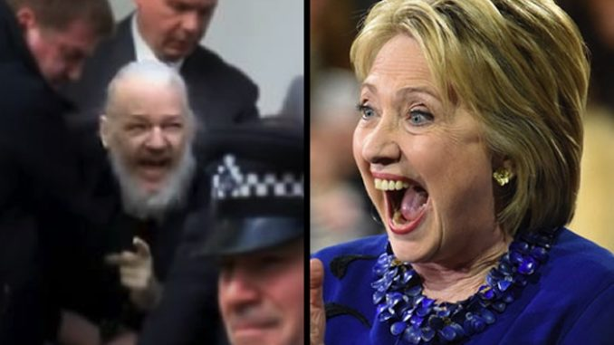 Hillary Clinton is delighted over the arrest of Wikileaks founder Julian Asssange