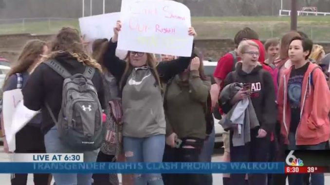 Teen girls stage walkout over school policy to allow boys who claim to be 'girls' to use their bathroom