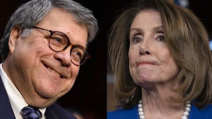 AG Bill Barr mocks Nancy Pelosi to her face - asks her if she has brought her handcuffs