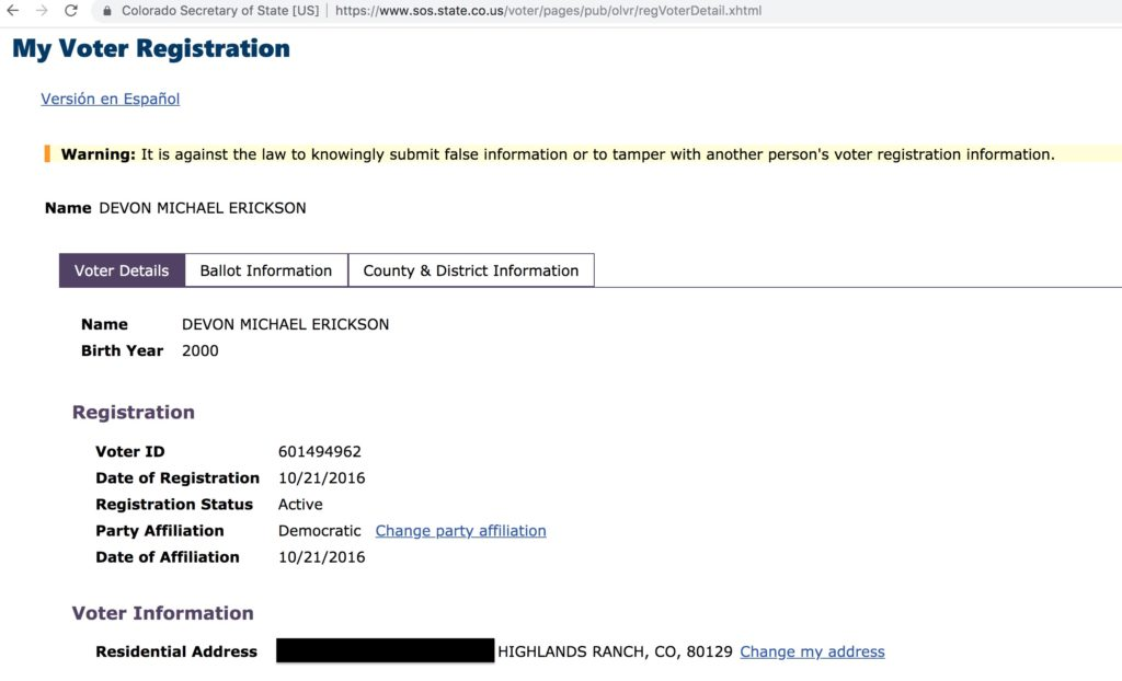 Devon Erickson's Colorado voter registration record.