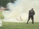 Footage has emerged of a man setting himself on fire in Elipse Park, Washington D.C. as secret service agents try to save him.
