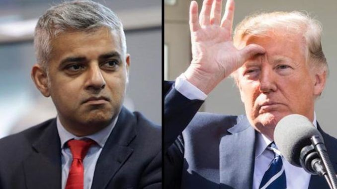 "President Donald Trump called London Mayor Sadiq Khan a ""stone cold loser"" who is ""very dumb"" minutes before landing at Stansted aiprort."