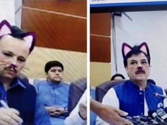 "A Pakistani government minister turned ""cat-face"" when a video filter was mistakenly turned-on during a live press conference."