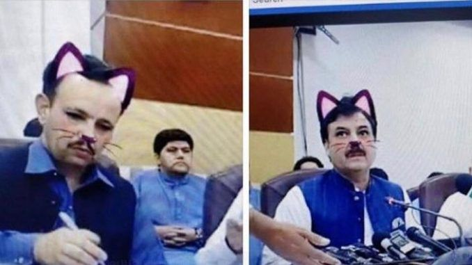 """A Pakistani government minister turned """"cat-face"""" when a video filter was mistakenly turned-on during a live press conference."""