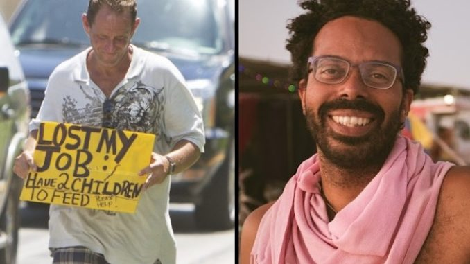 A professor of literature at SUNY Old Westbury has boasted it makes him happy when he sees white people on the street begging for money or food.