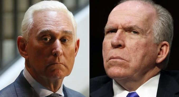 "Former CIA chief John Brennan is a ""psycho"" who should be ""tried, convicted and hung for treason,"" according to Roger Stone."