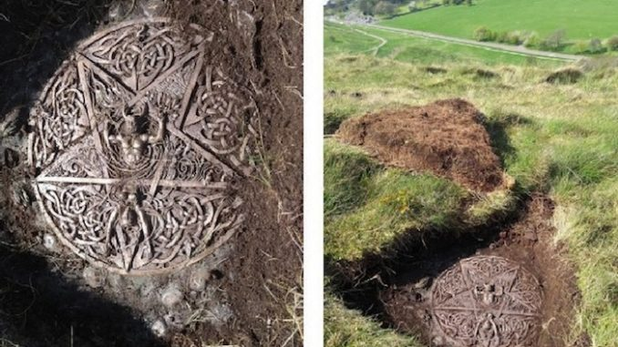 Satanic plaque with pentagram unearthed at the Queen's Hollyrood park