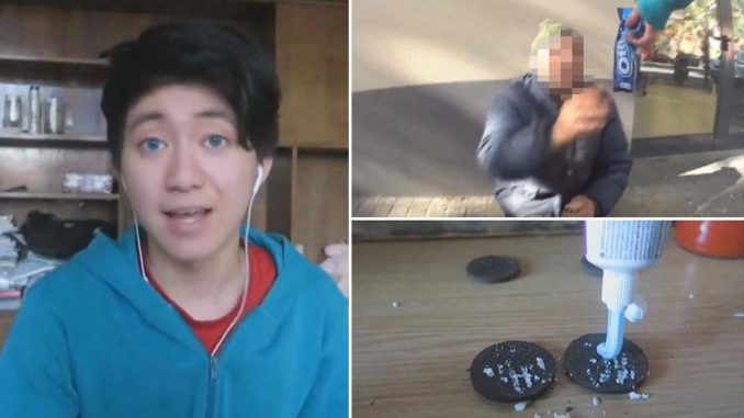 A YouTuber has been handed a 15-month prison sentence after he made a video tricking a vagrant into eating Oreos filled with toothpaste.