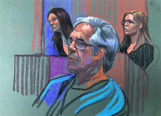 Jeffrey Epstein appears at a court hearing on July 15, 2019.