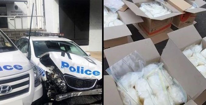 A van jammed with $140m worth of crystal meth crashed into a police car parked outside a police station in Australia yesterday.