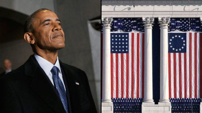 The 'offensive' Betsy Ross flag was prominently displayed during former President Barack Obama's second inauguration ceremony in 2013.