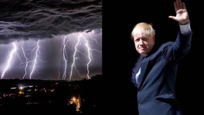 Lightning lit up the skies above much of the UK in the early hours with BBC reporting there were 48,000 lightning strikes