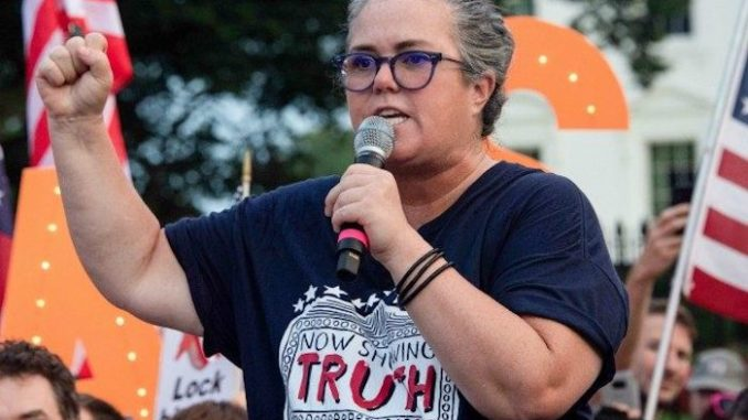 Rosie O'Donnell urges fellow protestors to take out fascist Trump from the White House