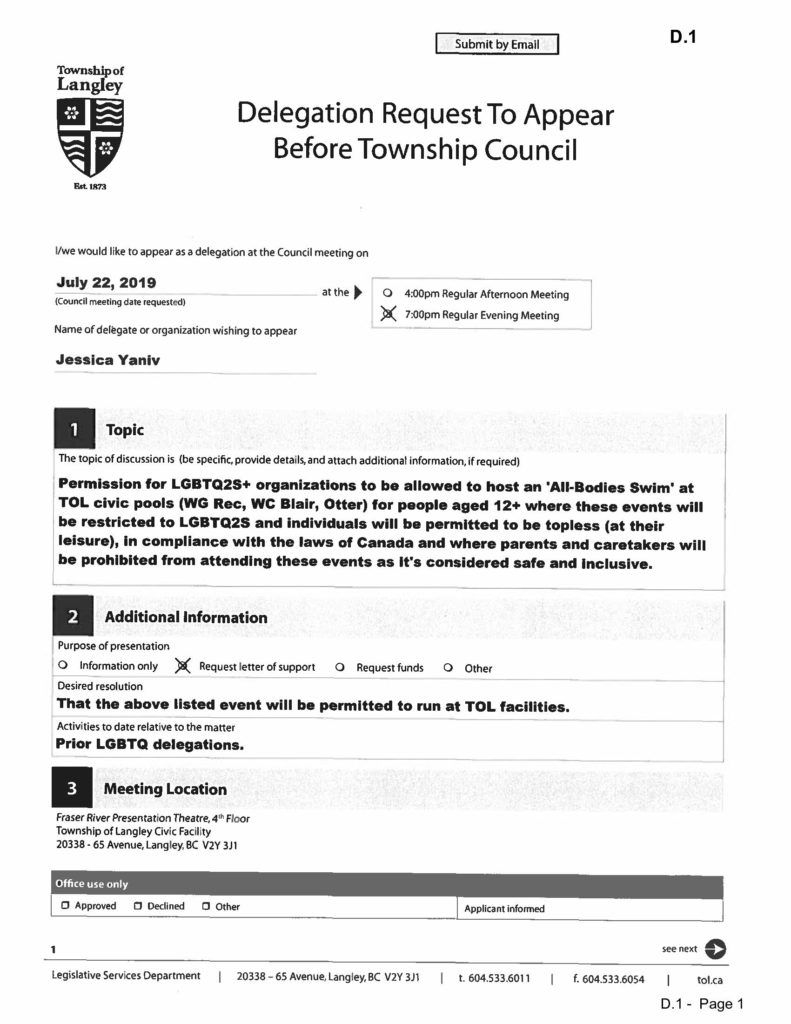 Jessica Yaniv is scheduled to appear before the Township of Langley Council to ask permission for a topless, all-bodies-swim.