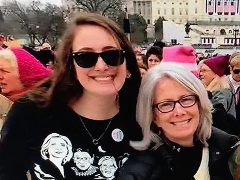 Maurene Comey and mother attend Washington DC pussy hat march in January 2017.