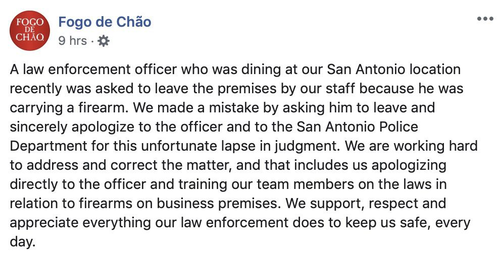 Fogo de Chao issued an apology after an armed officer was asked to leave its restaurant.