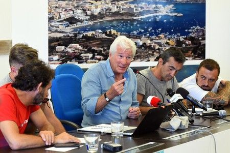 "U.S. actor Richard Gere holds a news conference in support of an NGO ship ""Open Arms"", which carries stranded migrants, in Lampedusa"
