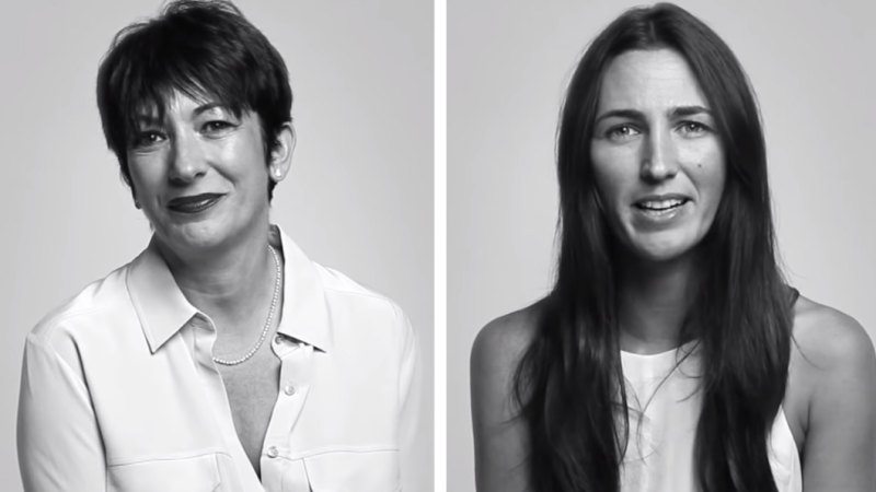 "Katherine Keating und Ghislaine Maxwell aus Keatings YouTube-Interview mit Epsteins angeblichem ""Sexprokuristen für Kinder""."