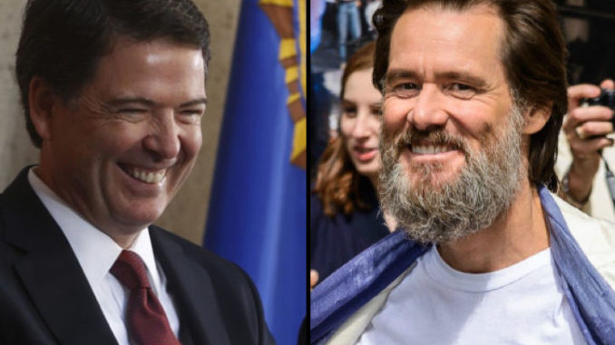 Actor Jim Carrey says critics of James Comey will choke on the devil's dong