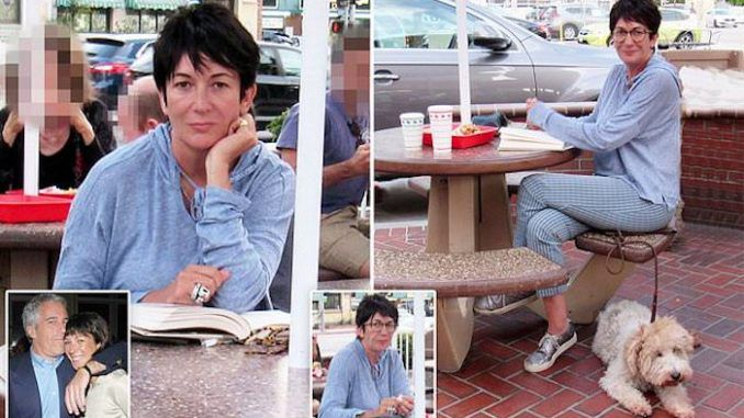Jeffrey Epstein's child groomer Ghislaine Maxwell spotted at fast food restaurant reading book about secret lives and deaths of CIA operatives