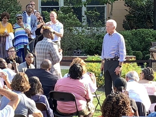 Roberson asked his question at an outdoor town hall meeting at Limestone College, South Carolina