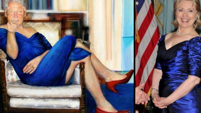 Jeffrey Epstein had picture of Bill Clinton wearing blue dress and red heels hanging in his home