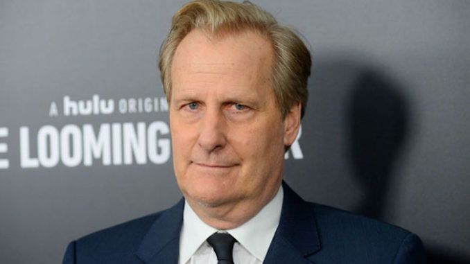 "Actor Jeff Daniels appeared on The Late Show Tuesday and told Stephen Colbert that President Trump's challenger needs to be somebody who can ""punch him in the face."""