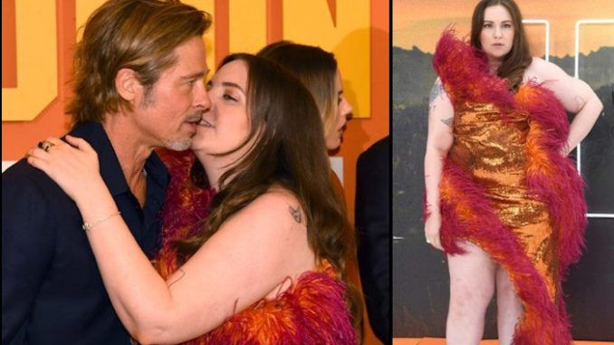 Lena Dunham is under fire for what many media members are saying is her awkward attempt to kiss Brad Pitt on the lips.